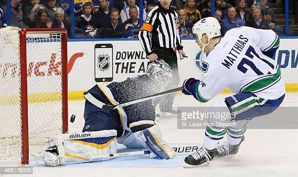 Vancouver Canucks center Shawn Matthias scores past St Louis Blues goaltender Brian Elliott during second period action on Monday March 30 at the...
