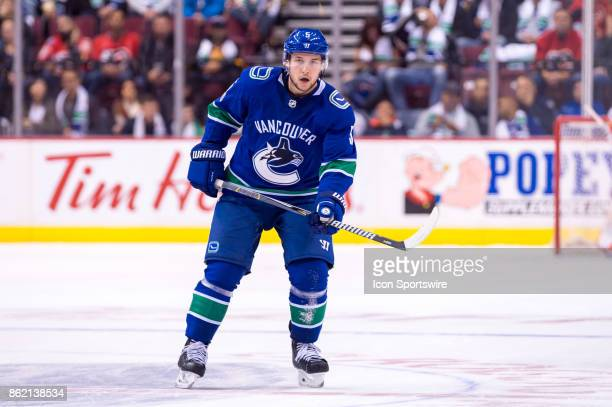 Vancouver Canucks Defenceman Derrick Pouliot skates up ice during their NHL game against the Calgary Flames at Rogers Arena on October 14 2017 in...
