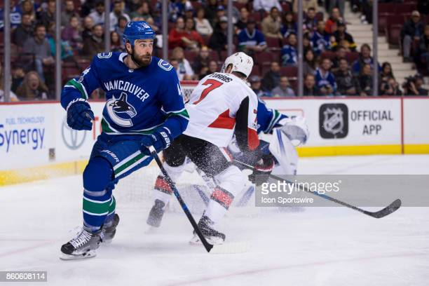 Vancouver Canucks Defenceman Erik Gudbranson against the Ottawa Senators during a NHL hockey game on October 10 at Rogers Arena in Vancouver BC