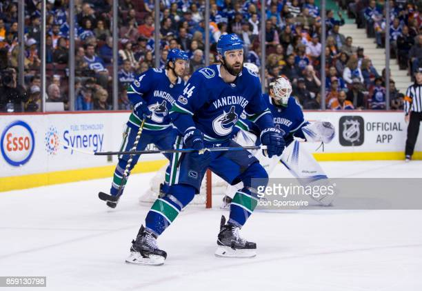 Vancouver Canucks Defenceman Erik Gudbranson during the Edmonton Oilers game versus the Vancouver Canucks on October 07 at Rogers Arena in Vancouver...