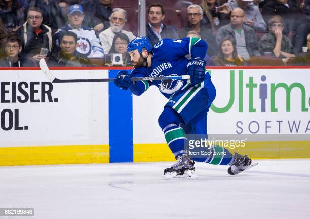 Vancouver Canucks Defenceman Erik Gudbranson shoots against the Winnipeg Jets in a NHL hockey game on October 12 at Rogers Arena in Vancouver BC