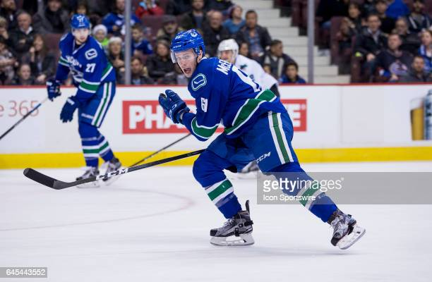 Vancouver Canucks Defenceman Evan McEneny skates against the San Jose Sharks during a NHL hockey game on February 25 at Rogers Arena in Vancouver BC...