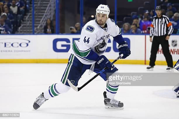 Vancouver Canucks defenseman Erik Gudbranson skates in the first period of the NHL game between the Vancouver Canucks and the Tampa Bay Lightning on...