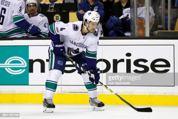 Vancouver Canucks defenseman Michael Del Zotto gets set for a face off during a game between the Boston Bruins and the Vancouver Canucks on October...