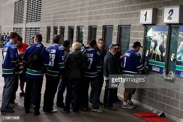 Vancouver Canucks fans line up for tickets to Game Five between the Vancouver Canucks and the Boston Bruins in the 2011 NHL Stanley Cup Final at...