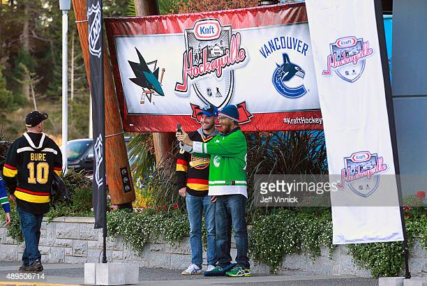 Vancouver Canucks fans take their photo before the game between the Vancouver Canucks and the San Jose Sharks during Day 3 of NHL Kraft Hockeyville...