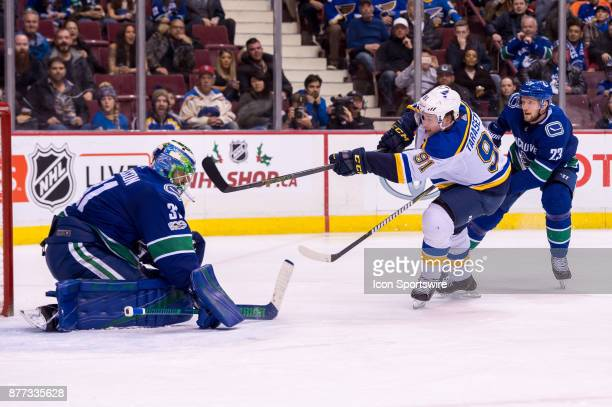 Vancouver Canucks Goalie Anders Nilsson makes a save on St Louis Blues Right Wing Vladimir Tarasenko during their NHL game at Rogers Arena on...