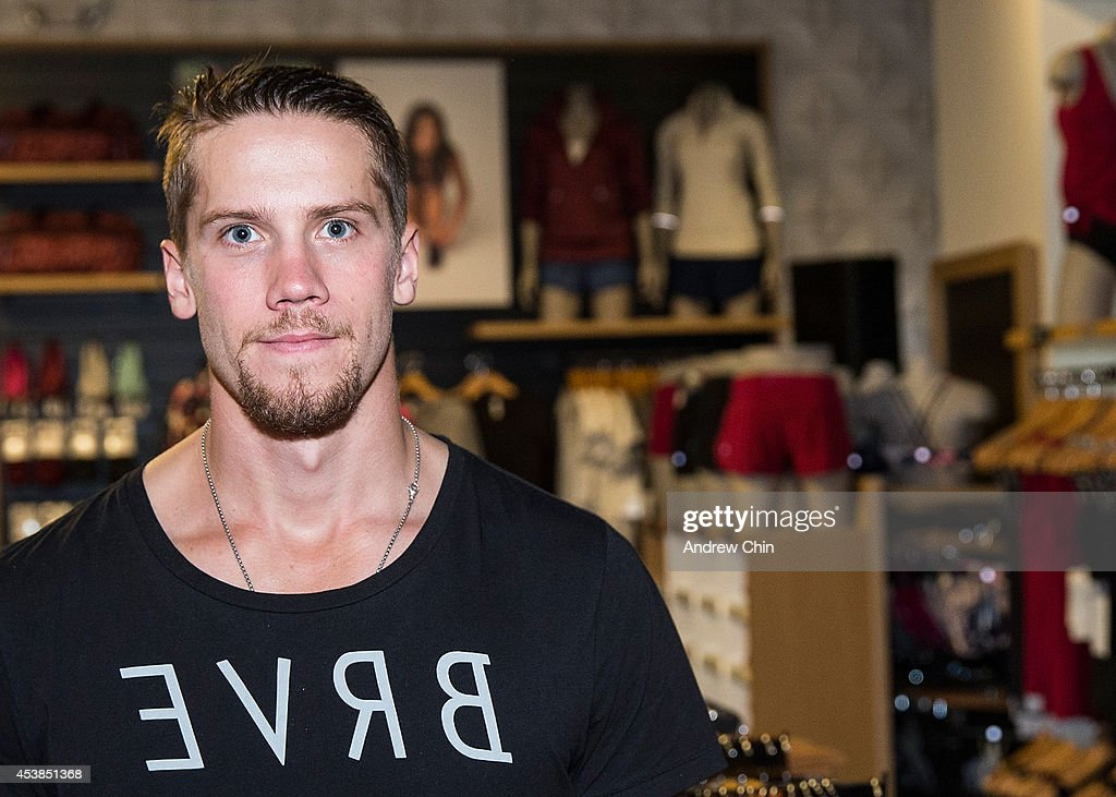 Vancouver Canucks Goalie <a gi-track='captionPersonalityLinkClicked' href=/galleries/search?phrase=Jacob+Markstrom&family=editorial&specificpeople=5370948 ng-click='$event.stopPropagation()'>Jacob Markstrom</a> attends the Lululemon Athletica flagship store opening party at 970 Robson Street on August 19, 2014 in Vancouver, Canada.