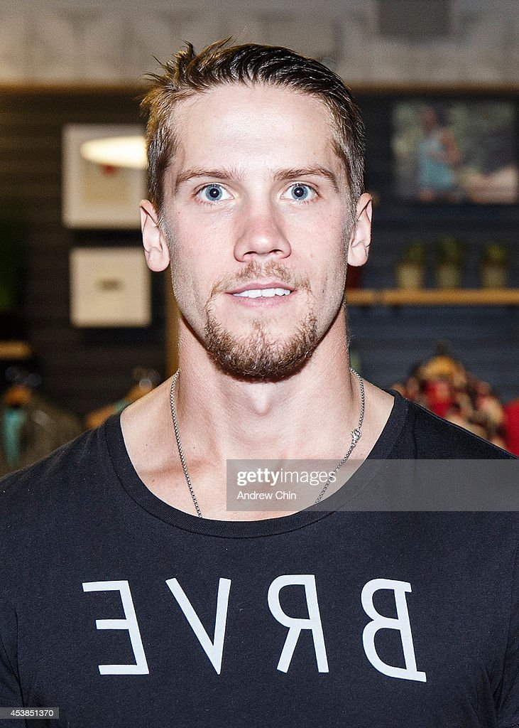 Vancouver Canucks Goalie Jacob Markstrom attends the Lululemon Athletica flagship store opening party at 970 Robson Street on August 19, 2014 in Vancouver, Canada.