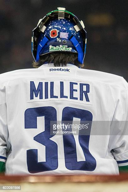 Vancouver Canucks Goalie Ryan Miller in the net during player warmups prior to the start of a regular season NHL game between the Vancouver Canucks...