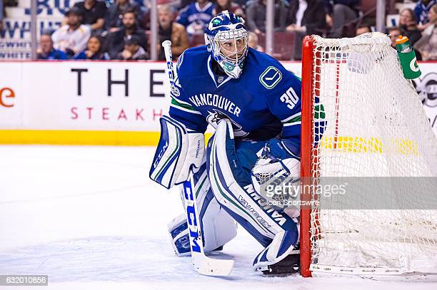 Vancouver Canucks Goalie Ryan Miller watches the play during their NHL game against the Nashville Predators at Rogers Arena on January 17 2017 in...