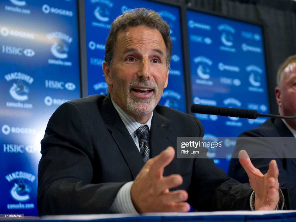 Vancouver Canucks head coach during <a gi-track='captionPersonalityLinkClicked' href=/galleries/search?phrase=John+Tortorella&family=editorial&specificpeople=213393 ng-click='$event.stopPropagation()'>John Tortorella</a> answers a question during a press conference after being named the team's new head coach June 25, 2013 at Rogers Arena in Vancouver, British Columbia, Canada.