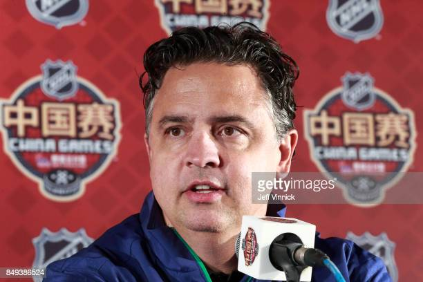 Vancouver Canucks head coach Travis Green answer questions during a press conference after their practice at MercedesBenz Arena September 19 2017 in...