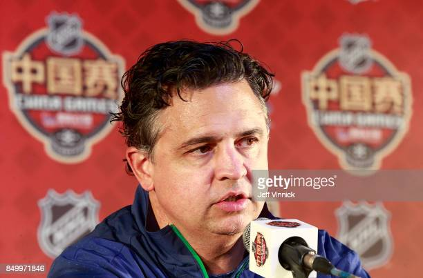 Vancouver Canucks head coach Travis Green answers questions during a press conference after their practice at MercedesBenz Arena September 20 2017 in...