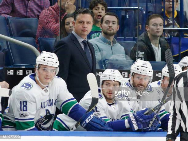 Vancouver Canucks head coach Travis Green watches play during the first period against the Buffalo Sabres at the KeyBank Center on October 20 2017 in...