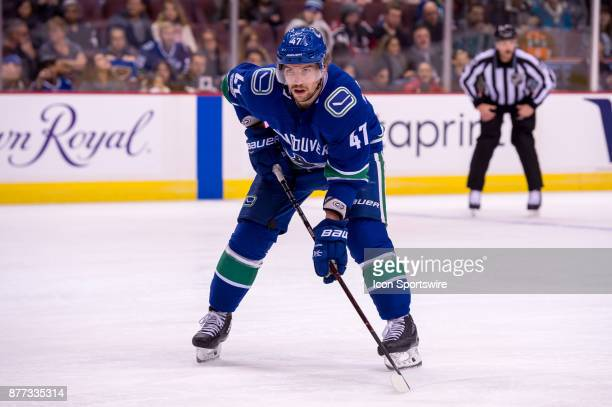 Vancouver Canucks Left Wing Sven Baertschi waits for a faceoff during their NHL game against the St Louis Blues at Rogers Arena on November 18 2017...