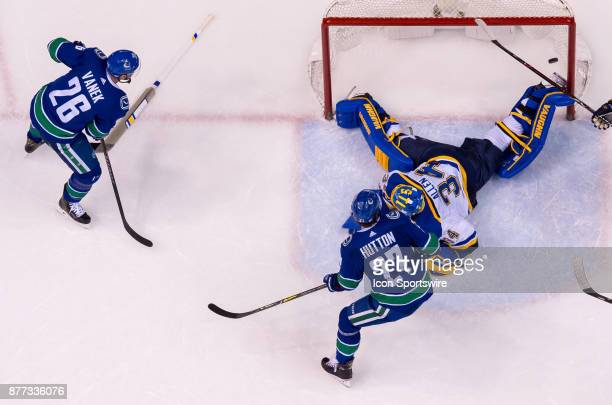 Vancouver Canucks Right Wing Thomas Vanek scored a goal which was later disallowed on St Louis Blues Goalie Jake Allen during their NHL game at...