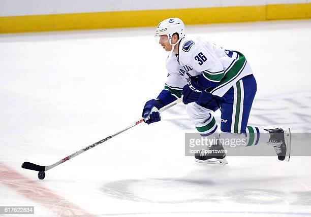 Vancouver Canucks right wink Jannik Hansen 360 heads down the ice with the puck in the first period of a game against the Anaheim Ducks played on...