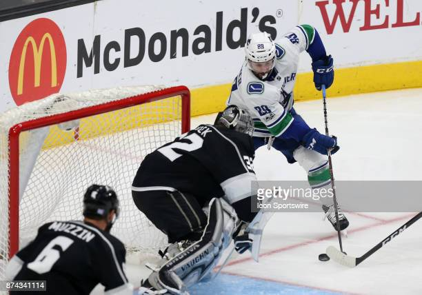Vancouver Canucks winger Sam Gagner attempts a shot on Los Angeles Kings goalie Jonathan Quick during the game on November 14 at the Staples Center...