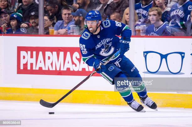 Vancouver Canucks Winger Sam Gagner skates with the puck during their NHL game against the New Jersey Devils at Rogers Arena on November 1 2017 in...
