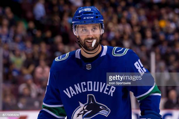 Vancouver Canucks Winger Sam Gagner waits for a faceoff during their NHL game against the St Louis Blues at Rogers Arena on November 18 2017 in...