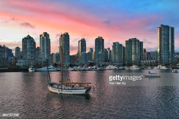 Vancouver City and Habour During Sunset Time