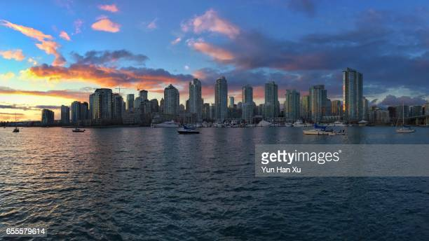 Vancouver Cityscape and Sea during Sunset Time