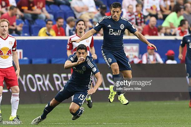 Vancouver FC forward/midfielder Nicolas Mezquida and Vancouver FC midfielder Matias Laba during the second half of the game between the New York Red...