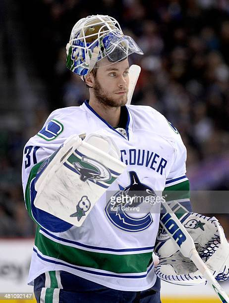 Vancouver goaltender Eddie Lack skated back to the net in the first period The Colorado Avalanche hosted the Vancouver Canucks Thursday night March...