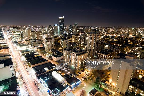 Vancouver High-Rises and City Lights at Night