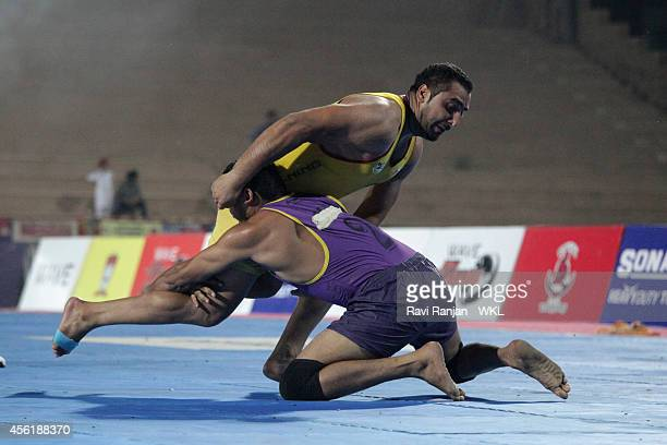 Vancouver Lion compete against Yo Yo Tiger during the 2014 World Kabaddi league tournament at Guru Nanak Dev University stadium on 26th Sep 2014 in...