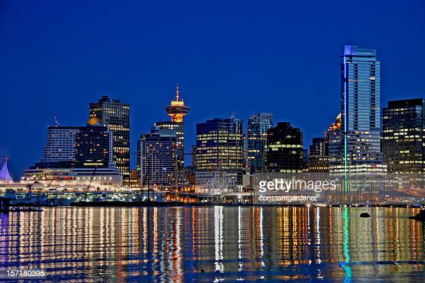 Vancouver Skyline And Reflections Sparkle At Dusk