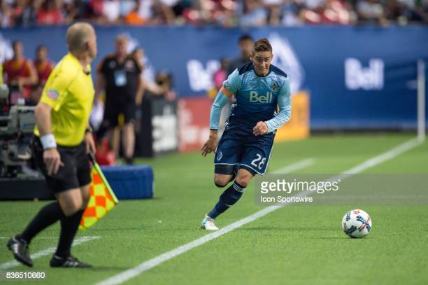 Vancouver Whitecaps defender Jake Nerwinski runs with the ball during their match against the Houston Dynamo at BC Place on August 19 2017 in...