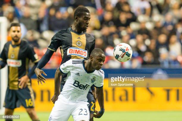 Vancouver Whitecaps forward Kekuta Manneh heads the ball ahead of Philadelphia Union midfielder Derrick Jones during the game between the Vancouver...