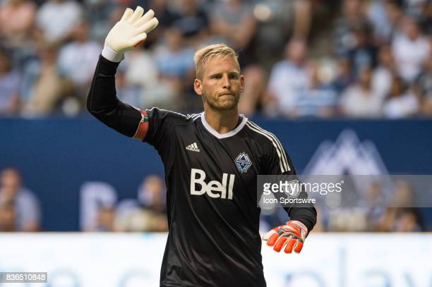 Vancouver Whitecaps goalkeeper David Ousted signals for the ball during their match against the Houston Dynamo at BC Place on August 19 2017 in...