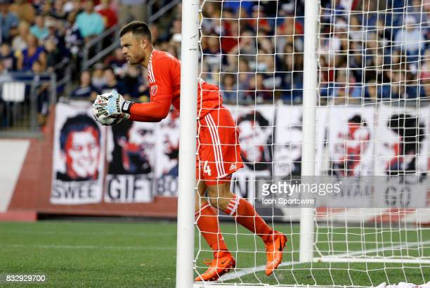 Vancouver Whitecaps goalkeeper Stefan Marinovic keeps the ball from crossing the line during an MLS match between the New England Revolution and...