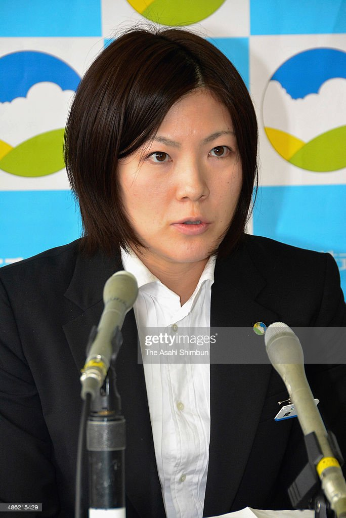 Vancouver Winter Olympics silver medalist Masako Hozumi speaks during a press conference on her retirement on April 22, 2014 in Toyama, Japan.