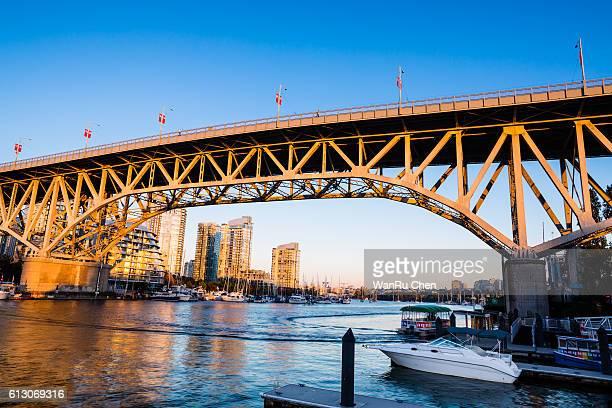 Vancouver's historic Burrard Bridge at sunset