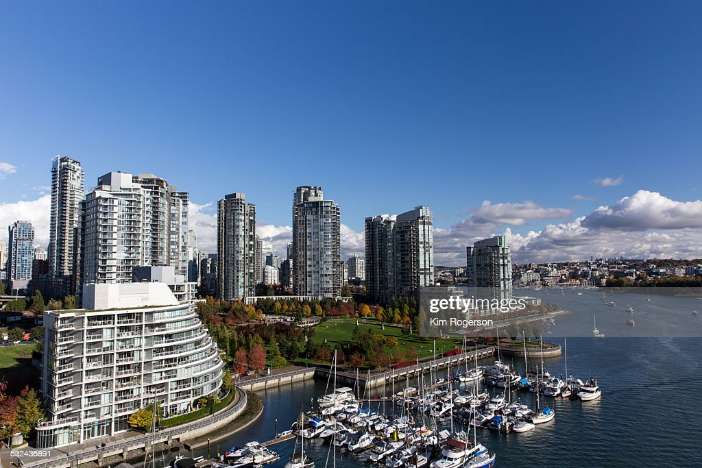 Vancouver's Yaletown in autumn from a bridge