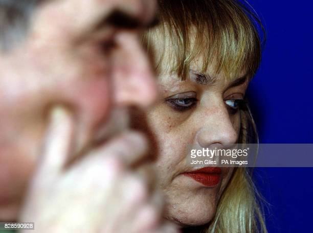 Vanda Moran the sister of missing 21yearold Rachel Moran and her father Ray at a Press Conference at Hull police station Rachel went missing in the...