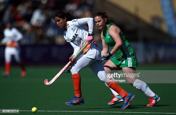 Vandana Katariya of India controls the ball from Lizzie Colvin of Ireland during day 8 of the FIH Hockey World League Women's Semi Finals 7th/ 8th...