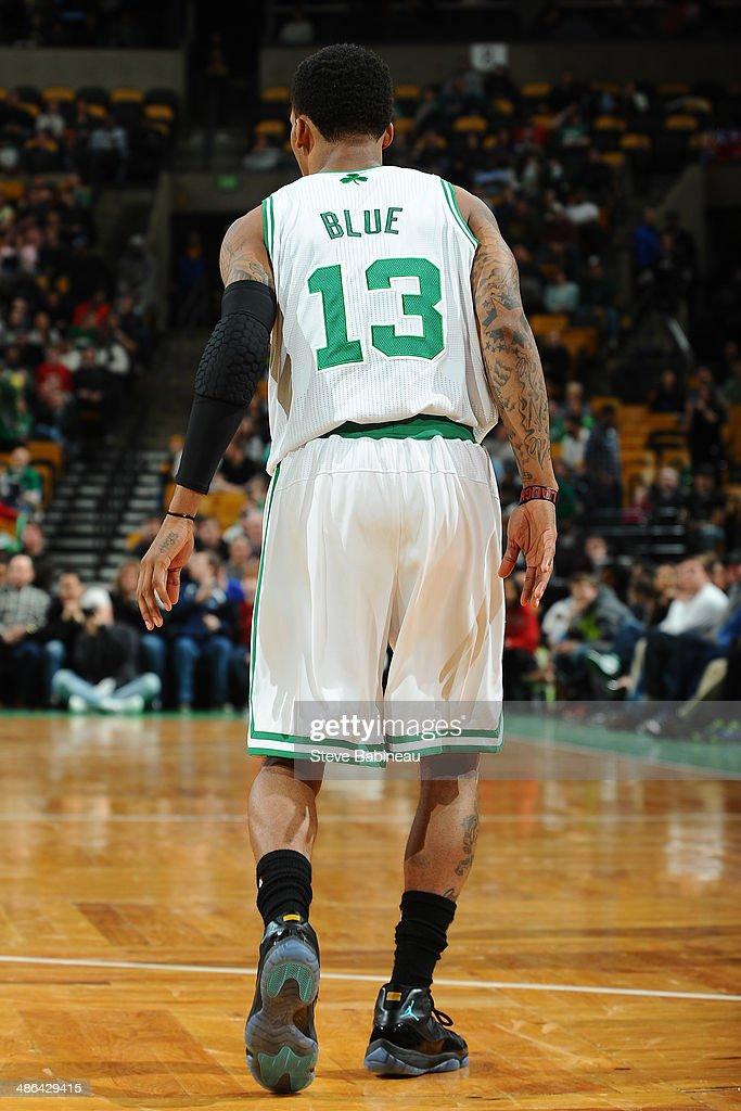 Vander Blue #13 of the Boston Celtics walks up court against the Oklahoma City Thunder on January 24, 2014 at the TD Garden in Boston, Massachusetts.