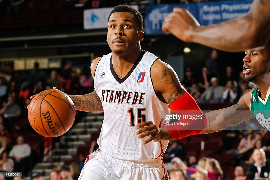 <a gi-track='captionPersonalityLinkClicked' href=/galleries/search?phrase=Vander+Blue&family=editorial&specificpeople=7117581 ng-click='$event.stopPropagation()'>Vander Blue</a> #15 of the Idaho Stampede moves the ball during an NBA D-League game against the Reno Bighorns on March 15, 2014 at CenturyLink Arena in Boise, Idaho.