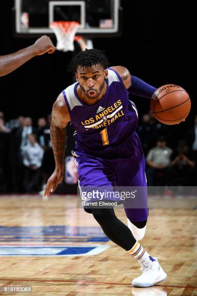 Vander Blue of the Los Angeles Lakers drives to the basket during the game against the Brooklyn Nets during the Quarterfinals of the 2017 Las Vegas...