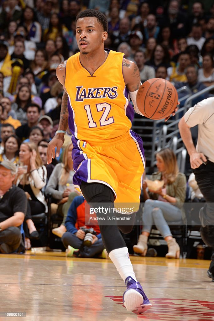 <a gi-track='captionPersonalityLinkClicked' href=/galleries/search?phrase=Vander+Blue&family=editorial&specificpeople=7117581 ng-click='$event.stopPropagation()'>Vander Blue</a> #12 of the Los Angeles Lakers handles the ball against the Sacramento Kings on April 15, 2015 at STAPLES Center in Los Angeles, California.