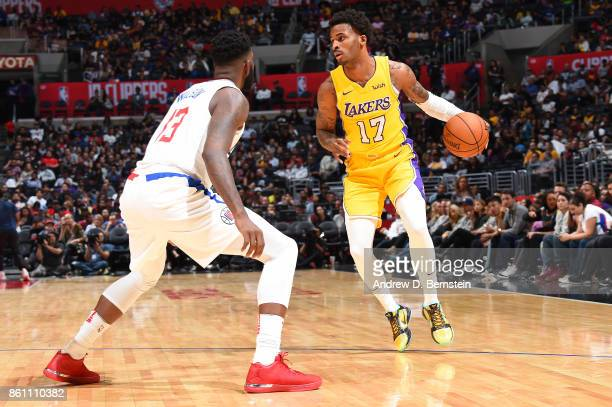 Vander Blue of the Los Angeles Lakers handles the ball against the LA Clippers on October 13 2017 at STAPLES Center in Los Angeles California NOTE TO...