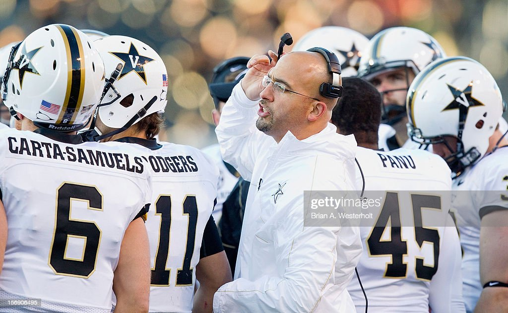 Vanderbilt Commodores head coach James Franklin talks to his team during a first quarter stoppage in play against the Wake Forest Demon Deacons at BB&T Field on November 24, 2012 in Winston Salem, North Carolina.
