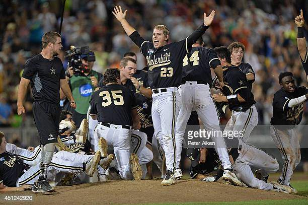Vanderbilt Commodores player Will Cooper celebrates after beating the Virginia Cavaliers 32 to win the College World Series Championship Series on...