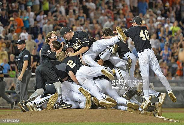 Vanderbilt Commodores players celebrate after beating the Virginia Cavaliers 32 to win the College World Series Championship Series on June 25 2014...