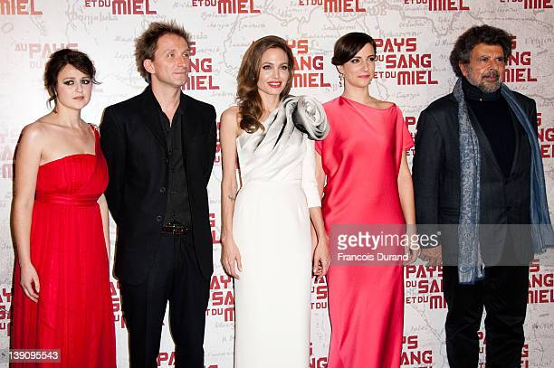 Vanesa Glodjo Goran Kostic Angelina Jolie and Gabriel Yared attend 'In the Land Of Blood And Honey' Pairs premiere on February 16 2012 in Paris France